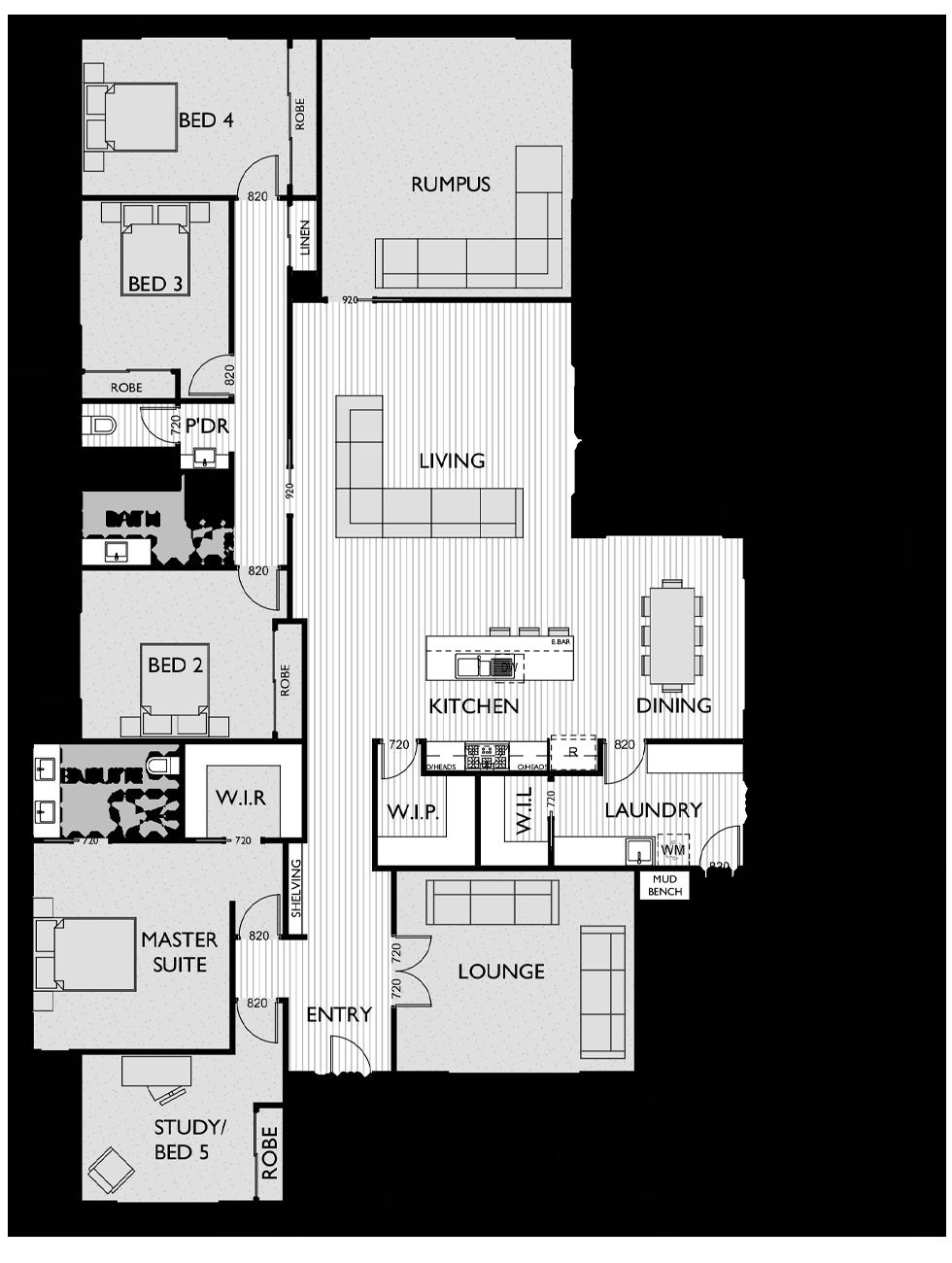 Floor Plan for Virtue Homes Aspire 39 family home