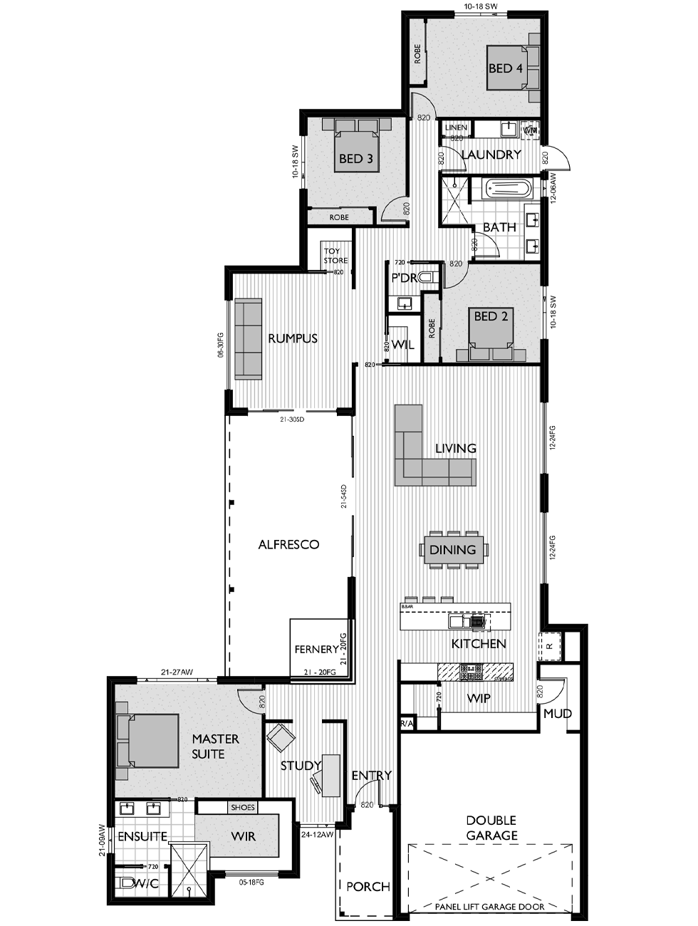 Floor Plan for Virtue Homes Bentley 35 family home