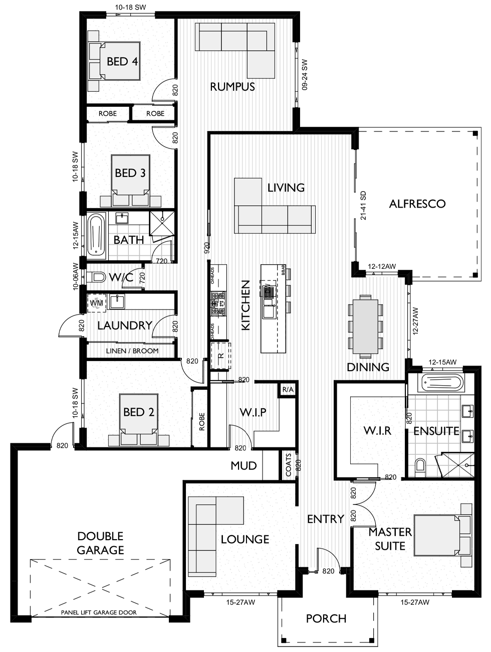 Floor Plan for 4 bedroom home Evie 32 designed by Virtue Homes