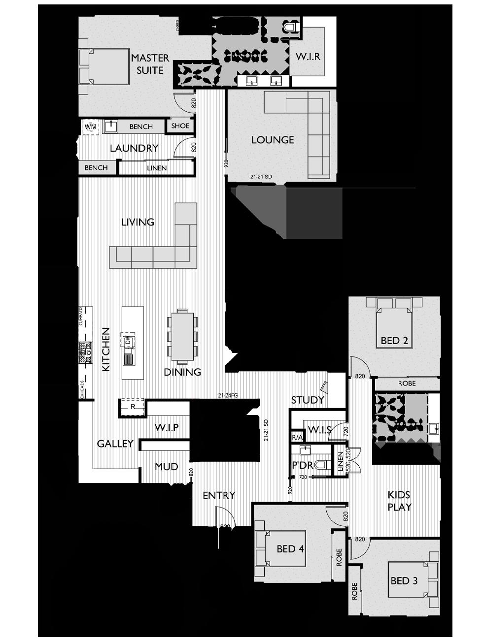 Floor Plan for Virtue Homes McLaren 35 family home