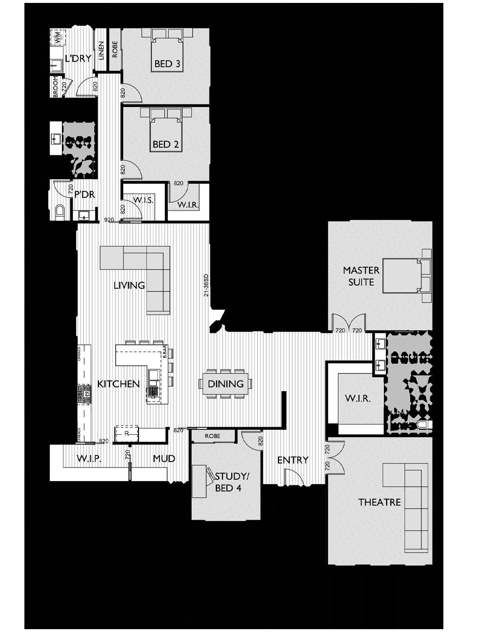 Floor Plan for Virtue Homes Malibu 34 family home