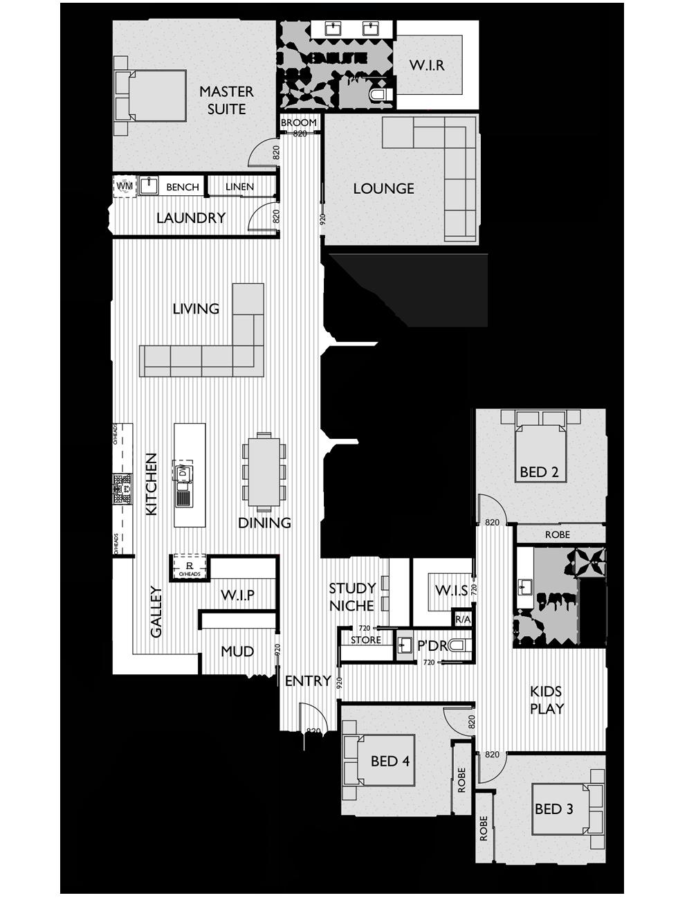 Floor Plan for Virtue Homes McLaren V2 family home