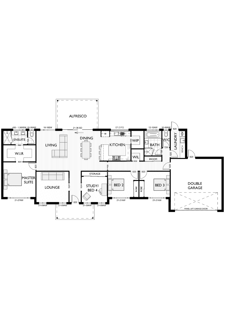 Ranch Style Floor Plan for Virtue Homes Windham 26 family home