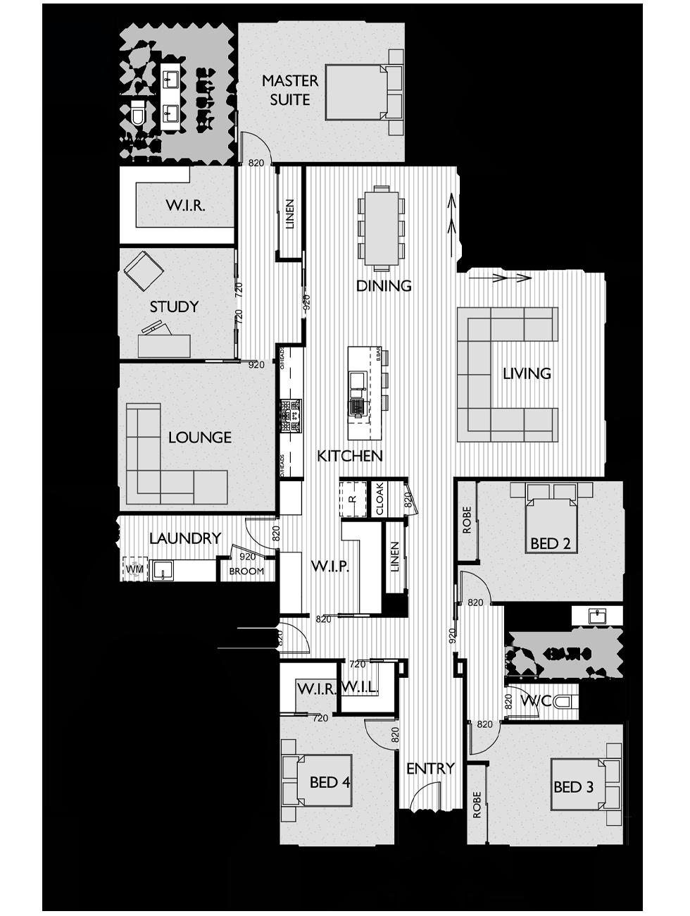 Floor Plan for Virtue Homes Rochford 35 family home