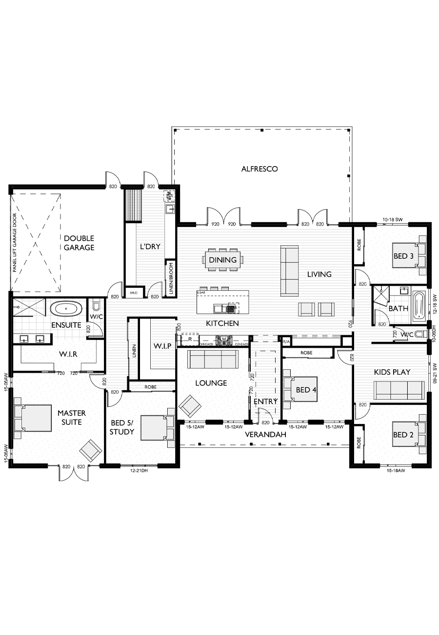Ranch Style Floor Plan for Virtue Homes Birchwood 41 family home