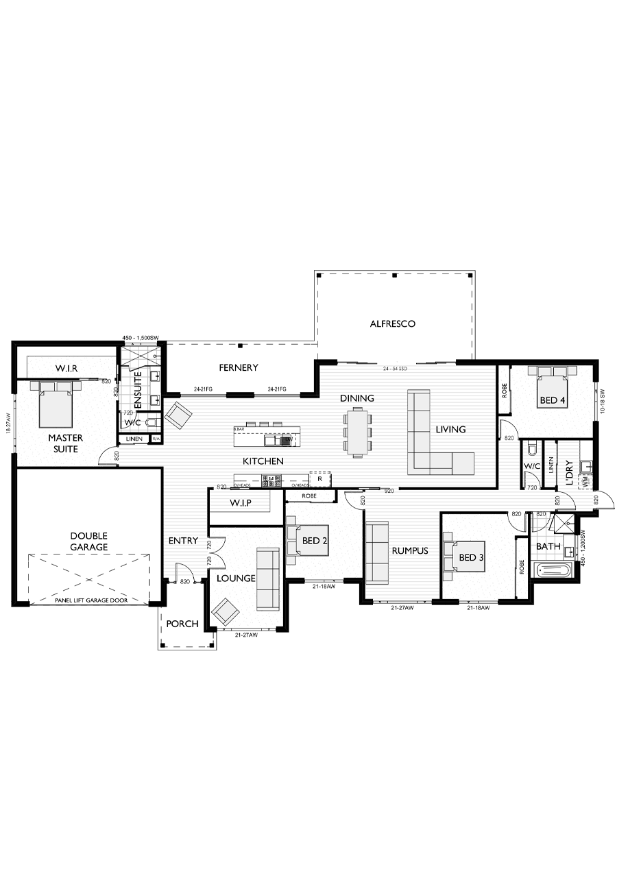 Ranch Style Floor Plan for Virtue Homes Magnolia 36 family home