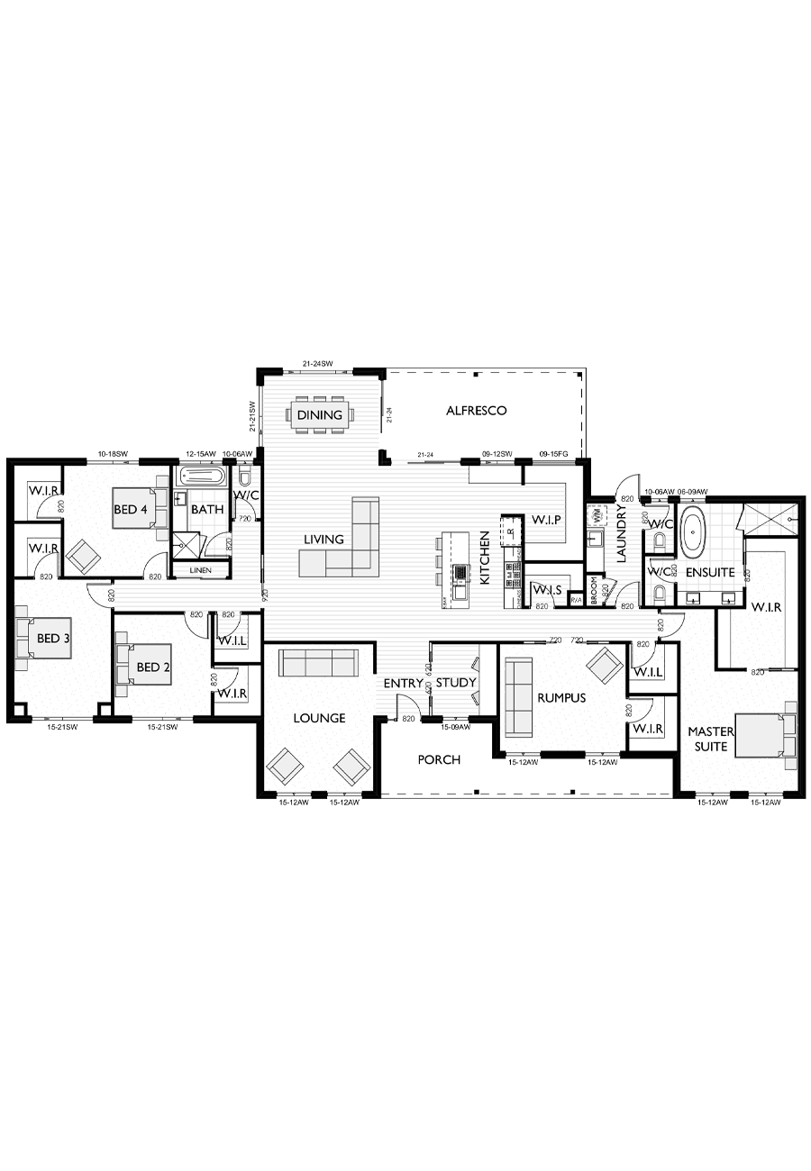 Ranch Style Floor Plan for Virtue Homes Richmond 34 V-1 family home