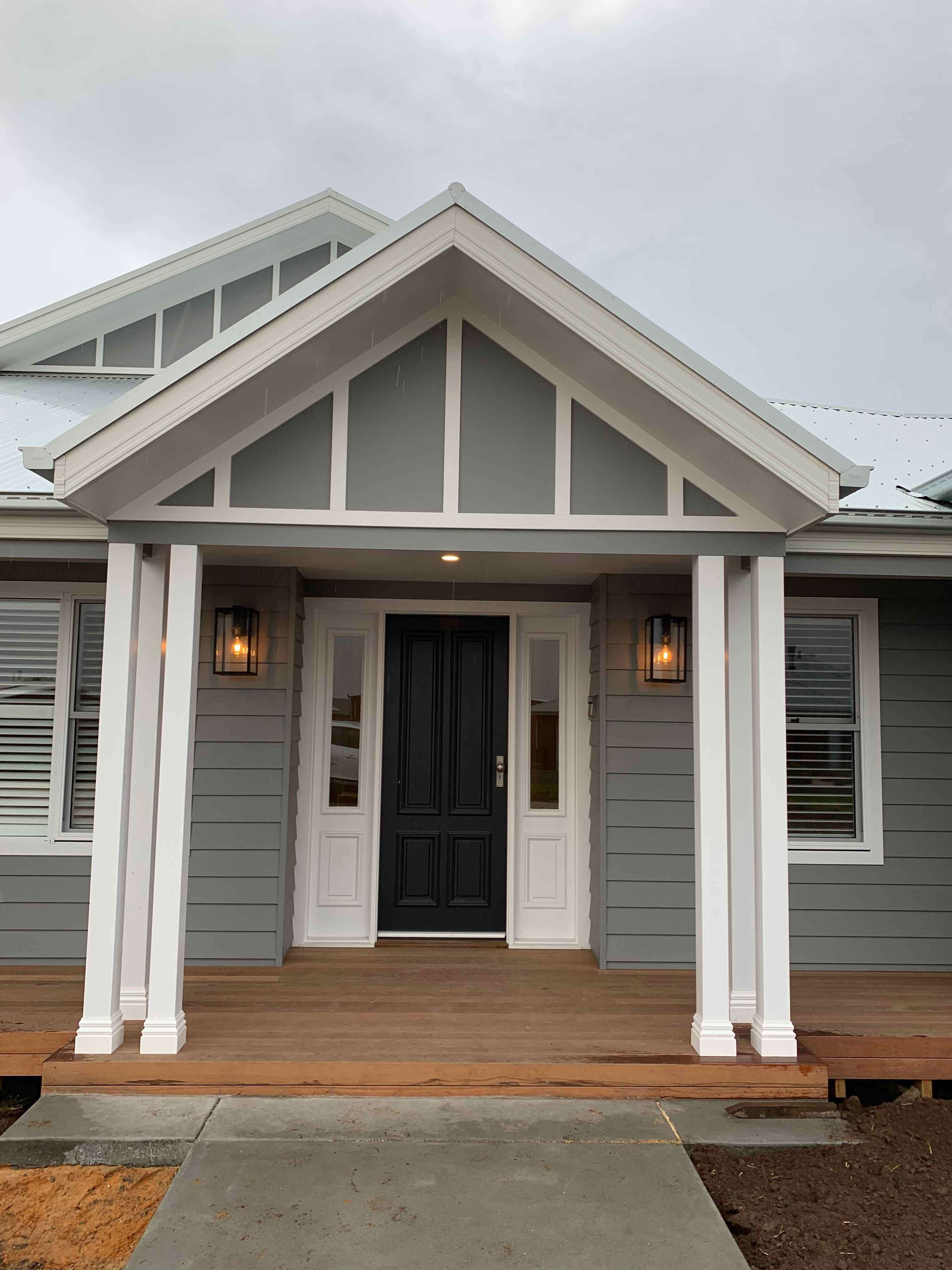 Verandah entry in Ranch Style home by Virtue Homes