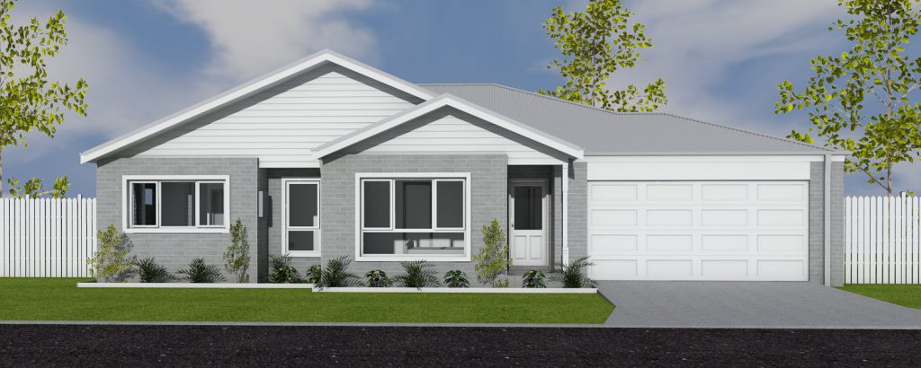 Rendering of Ranch style house facade by Virtue Homes