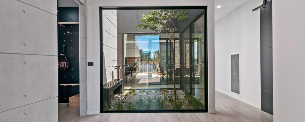Glass atrium in Display Home foyer
