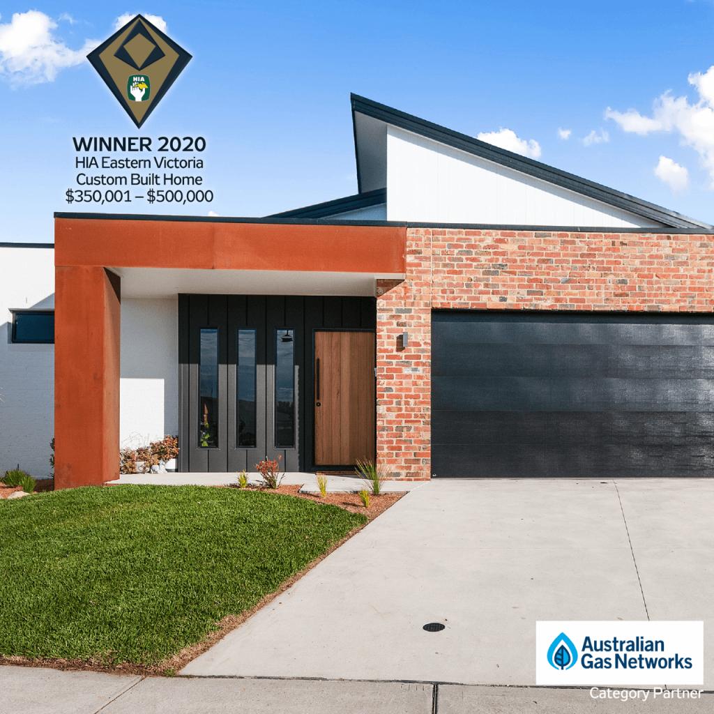 Facade of house that won Custom Built Home award 2020