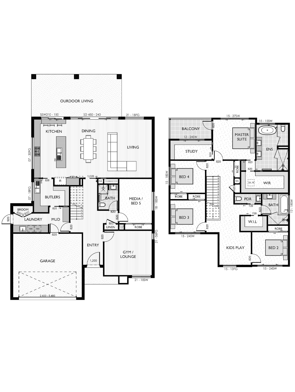Two Storey floor plan for the Claire 41