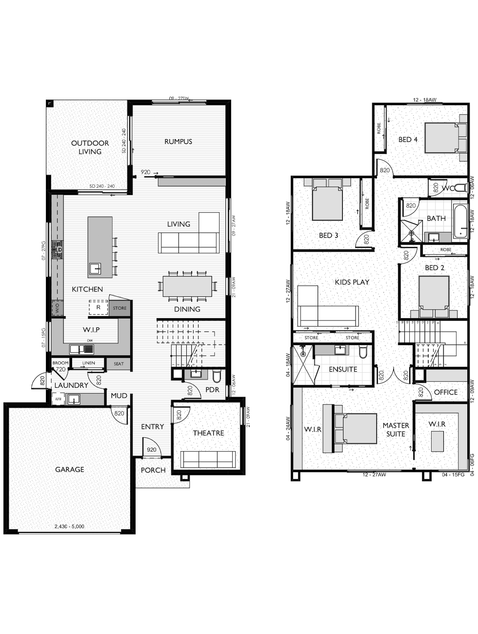 Two Storey floor plan for the Paige 37