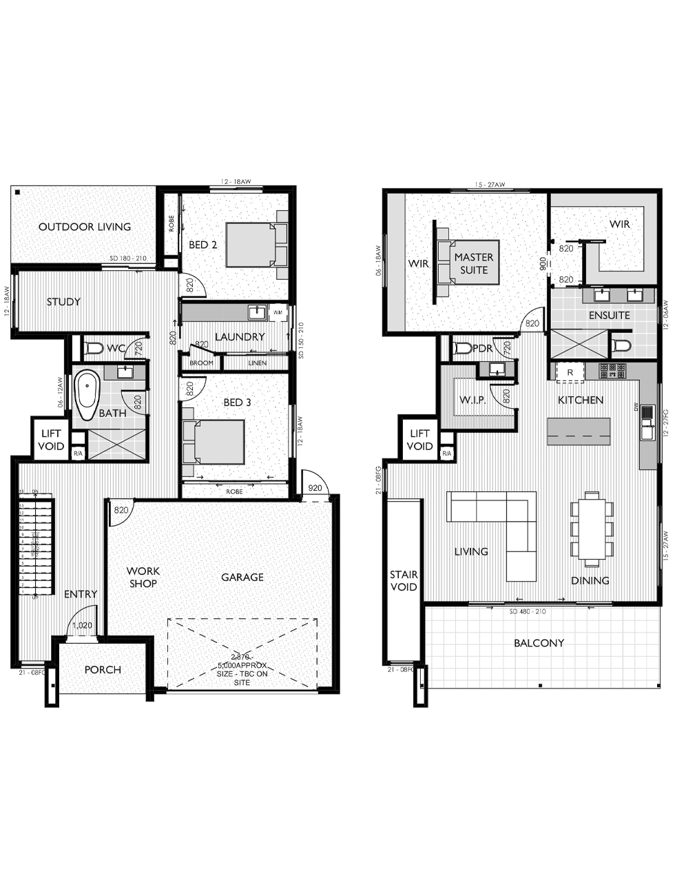 Two Storey floor plan for the Ruby 33