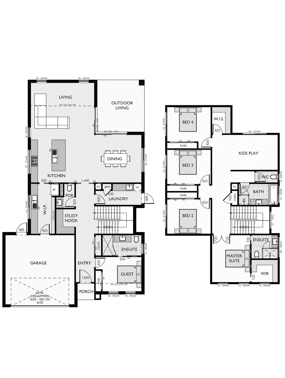 Two Storey floor plan for the Tayla 35